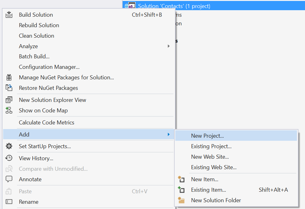 AddProjectExistingSolution