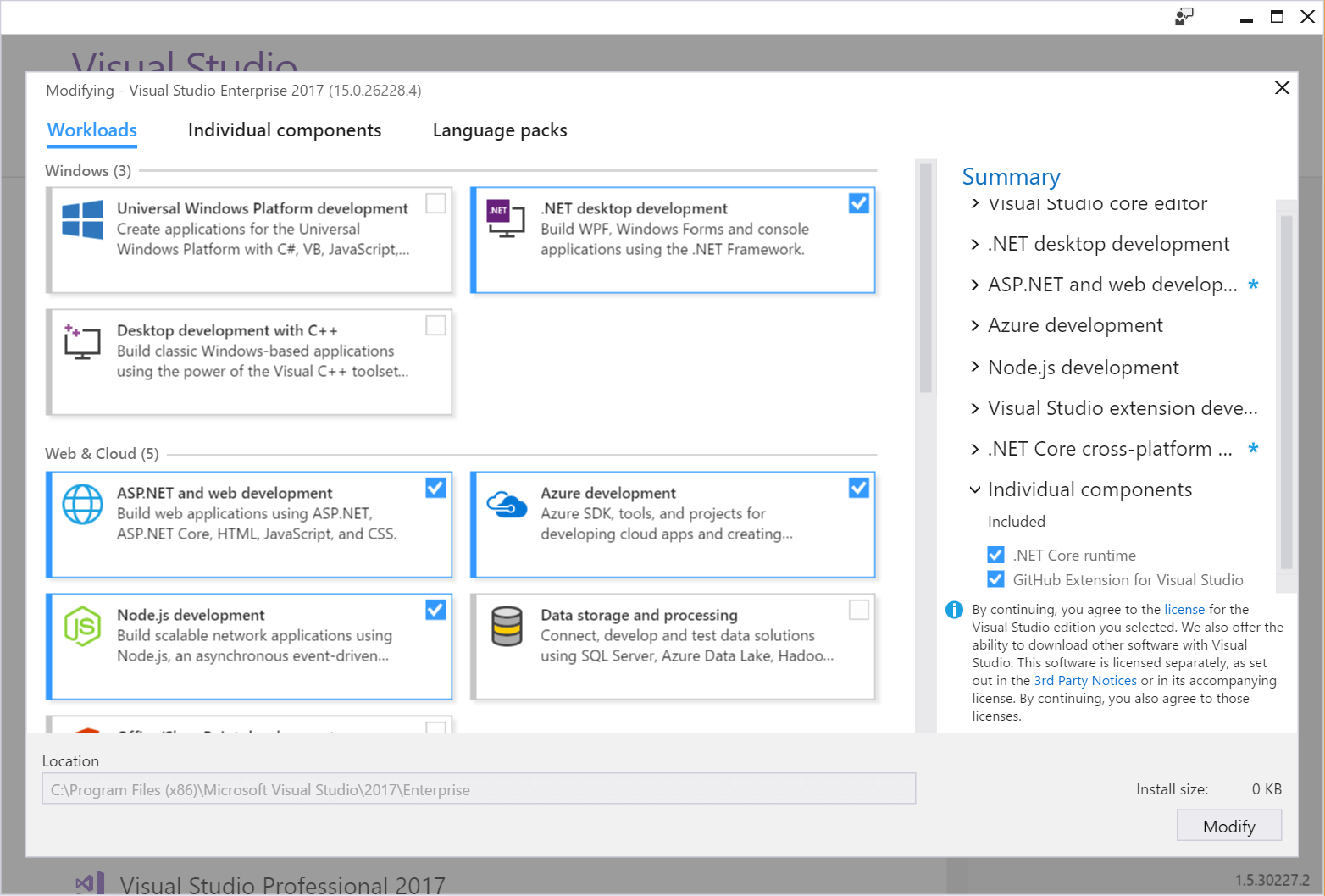 how to add asp net to visual studio 2017